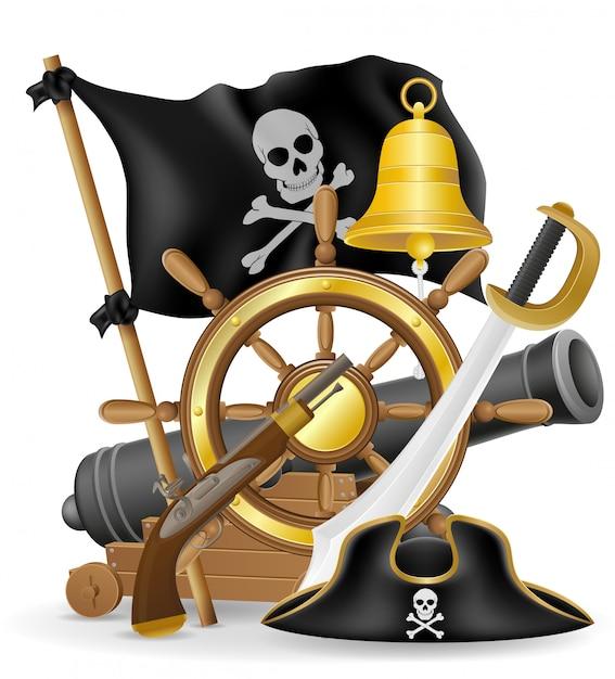 Illustrazione di vettore degli elementi di concetto del pirata Vettore Premium
