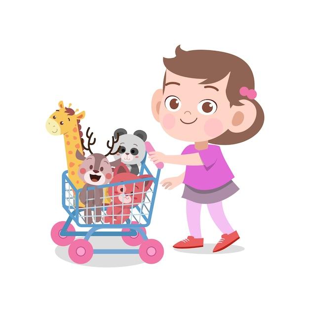 Illustrazione di vettore dei giocattoli del gioco della ragazza del bambino isolata Vettore Premium