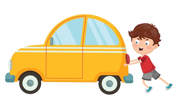 Illustrazione di vettore del bambino che spinge automobile Vettore Premium