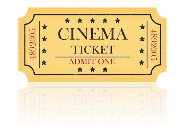 Illustrazione di vettore del biglietto del cinema Vettore Premium