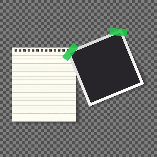 Illustrazione di vettore del blocco note e della foto di carta della pagina Vettore Premium