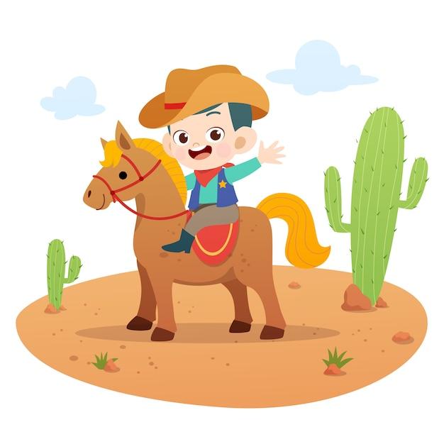 Illustrazione di vettore del cavallo da equitazione del bambino isolata Vettore Premium