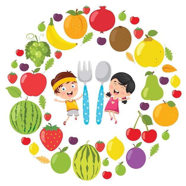 Illustrazione di vettore del concetto dell'alimento dei bambini Vettore Premium