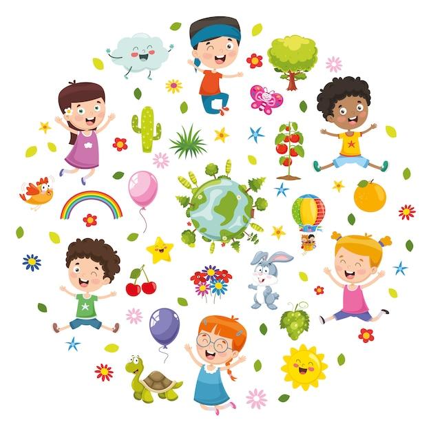 Illustrazione di vettore del concetto della natura dei bambini Vettore Premium