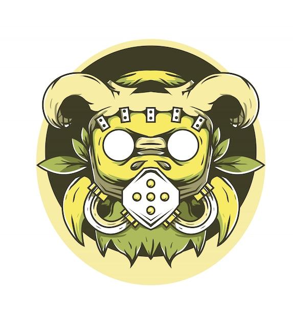 Illustrazione di vettore del corno della maschera del raider Vettore Premium