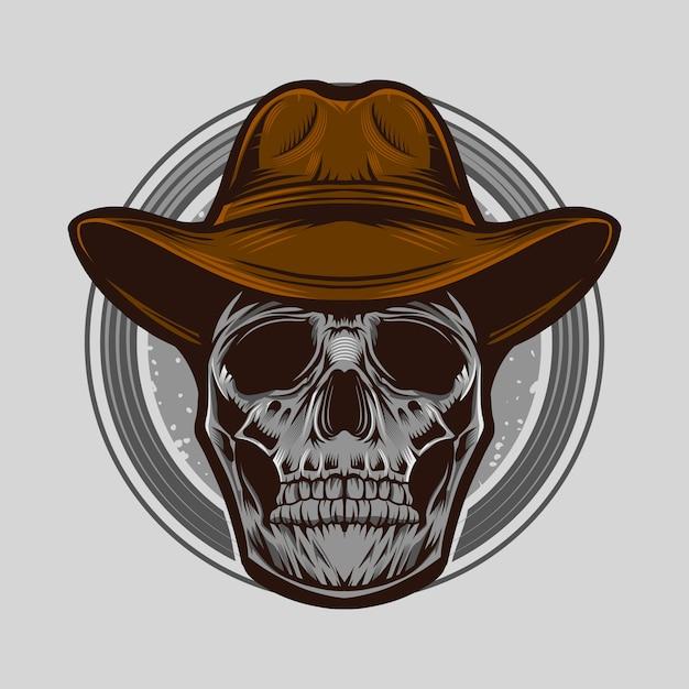 Illustrazione di vettore del cranio del cowboy isolata Vettore Premium