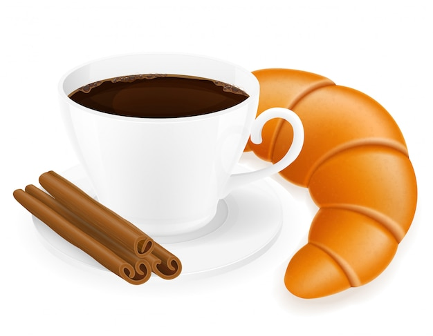 Illustrazione di vettore del croissant e della tazza di caffè Vettore Premium