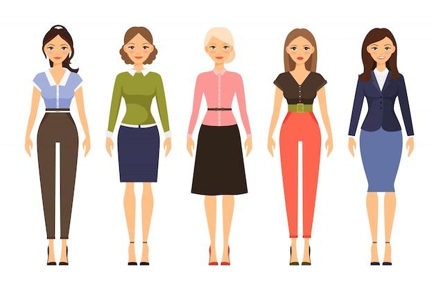 Illustrazione di vettore del dresscode della donna belle donne in abiti diversi Vettore Premium