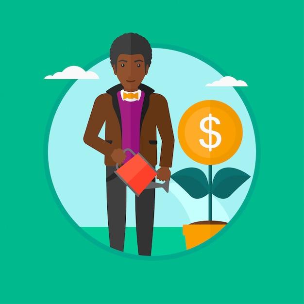 Illustrazione di vettore del fiore dei soldi d'innaffiatura dell'uomo. Vettore Premium