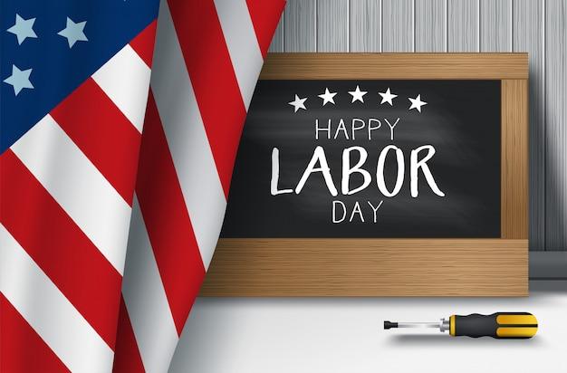 Illustrazione di vettore del fondo di festa del lavoro di usa con la bandiera di usa, tipografia degli stati uniti d'america di festa del lavoro Vettore Premium