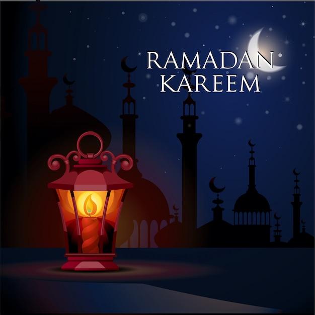 Illustrazione di vettore del fondo di saluto di ramadan kareem Vettore Premium