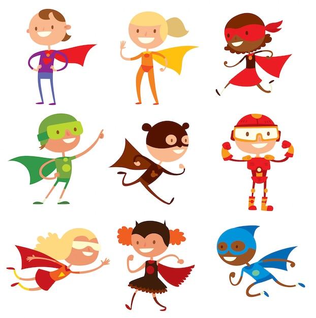 Illustrazione di vettore del fumetto dei ragazzi e delle ragazze dei bambini del supereroe Vettore Premium