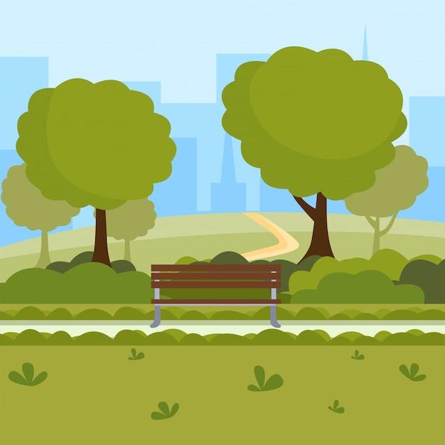 Illustrazione di vettore del fumetto del parco urbano tempo libero all'aria aperta sulla natura luogo pubblico, alberi verdi, panche di legno Vettore Premium