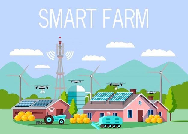 Illustrazione di vettore del fumetto di fattoria hi-tech intelligente Vettore Premium