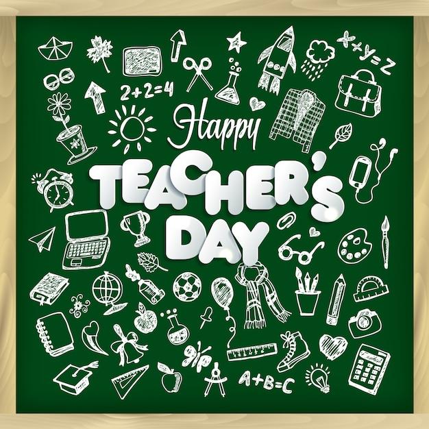 Illustrazione di vettore del giorno dell'insegnante felice nello stile della lavagna. Vettore Premium