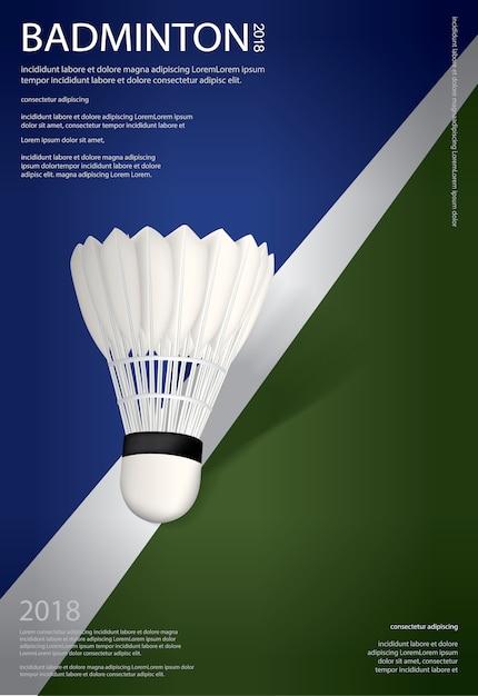 Illustrazione di vettore del manifesto di campionato di badminton Vettore Premium