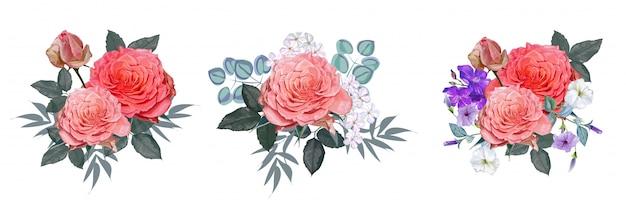Illustrazione di vettore del mazzo di rose rosa Vettore Premium