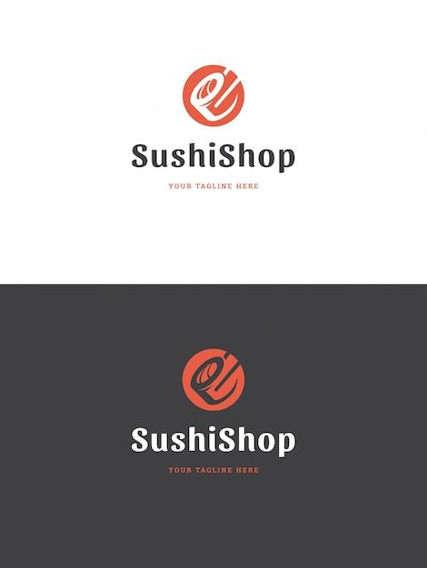 Illustrazione di vettore del modello di logo dell'emblema del ristorante dei sushi. Vettore Premium