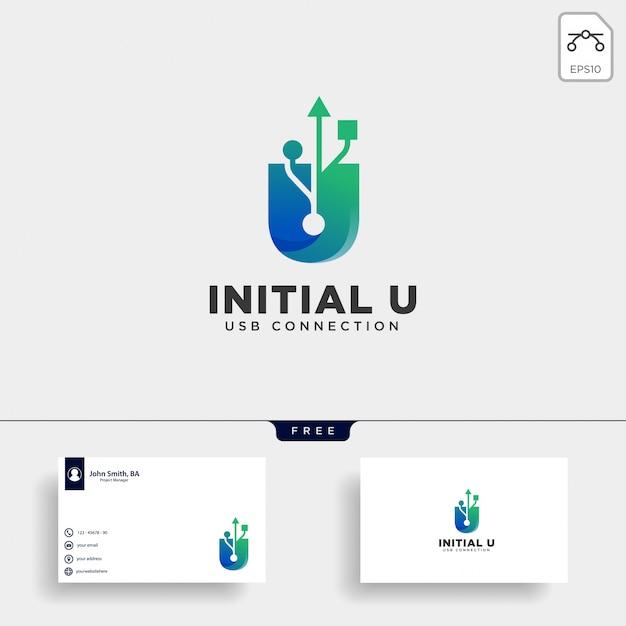 Illustrazione di vettore del modello di logo della connessione u della lettera di usb Vettore Premium