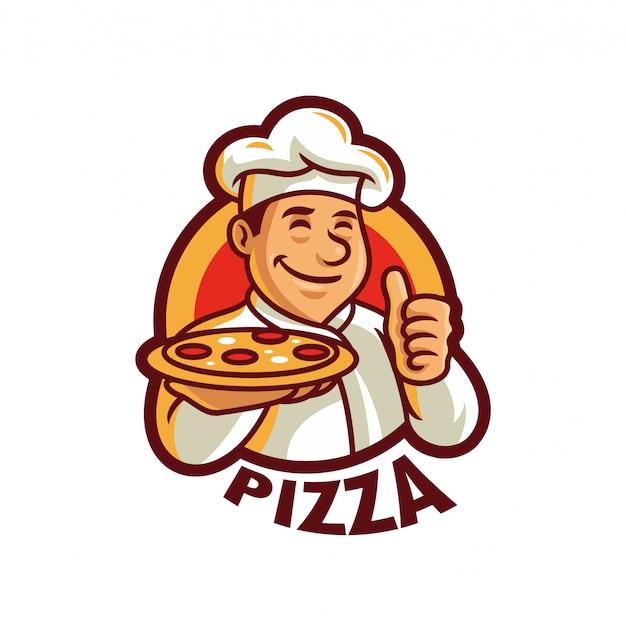 Illustrazione di vettore del modello di logo della mascotte del cuoco unico della pizza Vettore Premium