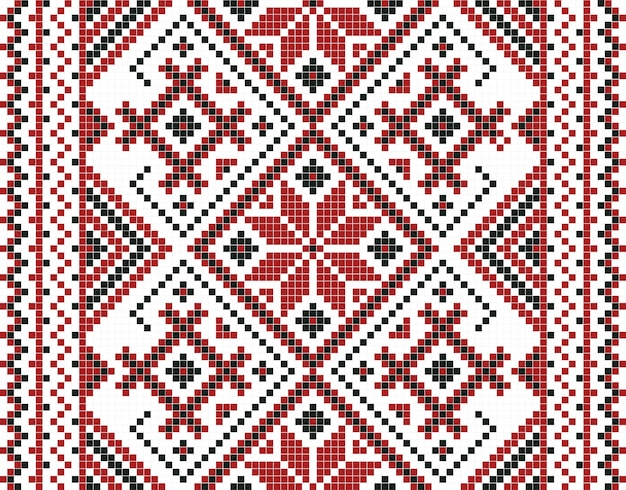 Illustrazione di vettore del modello senza cuciture del mosaico ucraino Vettore Premium