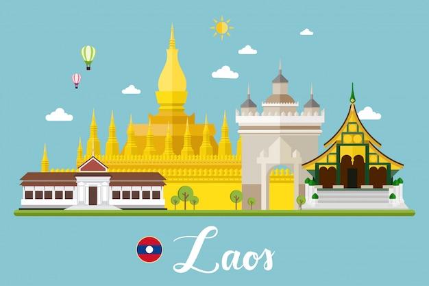 Illustrazione di vettore del paesaggio di viaggio del laos Vettore Premium
