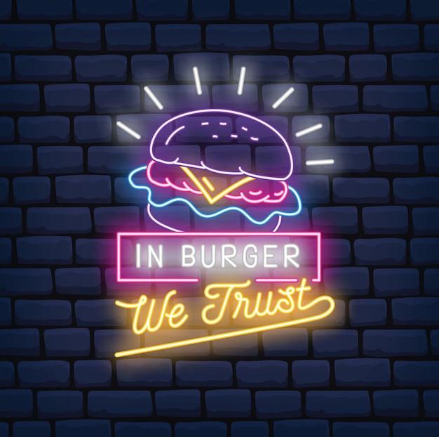 Illustrazione di vettore del segno al neon del ristorante dell'hamburger Vettore Premium