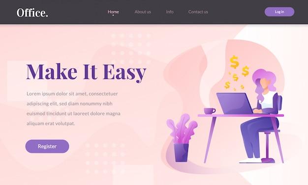Illustrazione di vettore del sito web di finanza e di affari Vettore Premium
