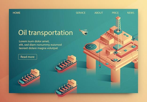 Illustrazione di vettore del trasporto di olio dell'iscrizione. Vettore Premium