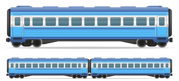 Illustrazione di vettore del treno ferroviario carrozza Vettore Premium