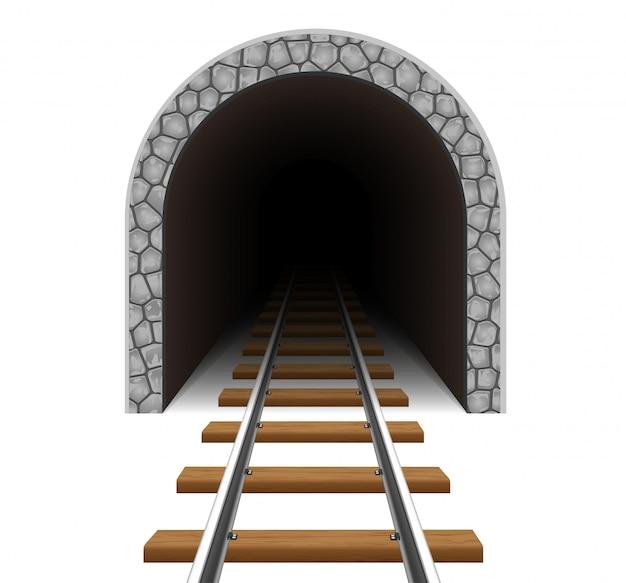 Illustrazione di vettore del tunnel ferroviario Vettore Premium