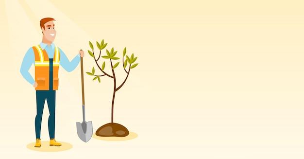 Illustrazione di vettore dell'albero delle piante dell'uomo. Vettore Premium