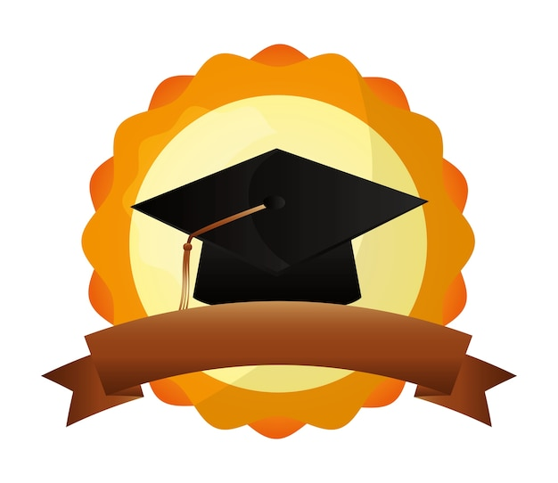 Illustrazione di vettore dell'emblema di successo della scuola del cappello di graduazione Vettore Premium