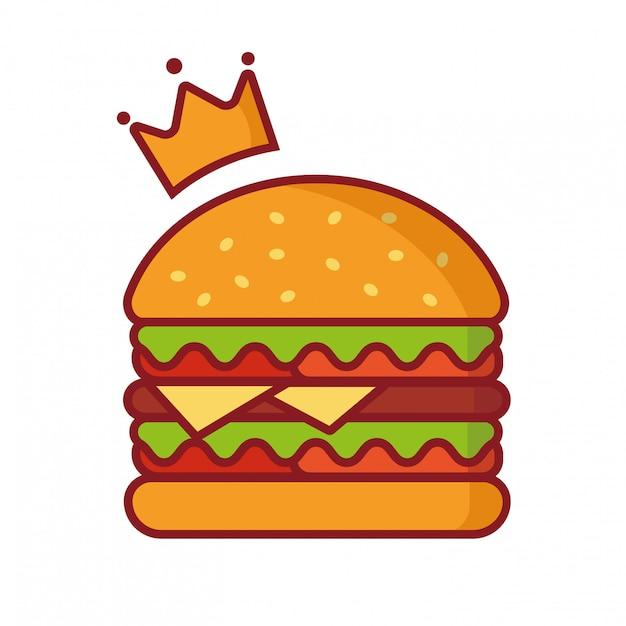 Illustrazione di vettore dell'hamburger, illustrazione semplice dell'elemento, hamburger di re con il vettore di logo della corona Vettore Premium