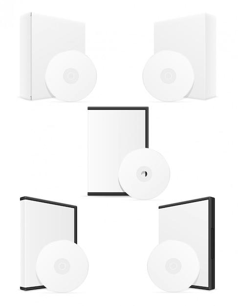 Illustrazione di vettore dell'imballaggio della cassa della scatola del bisco del dvd e del cd Vettore Premium
