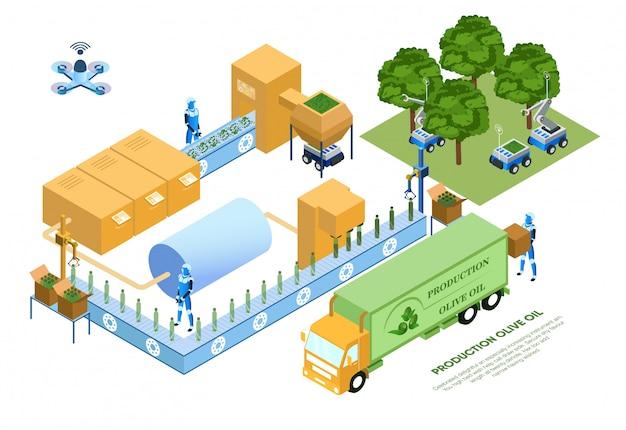 Illustrazione di vettore dell'olio di oliva di produzione dell'aletta di filatoio. Vettore Premium