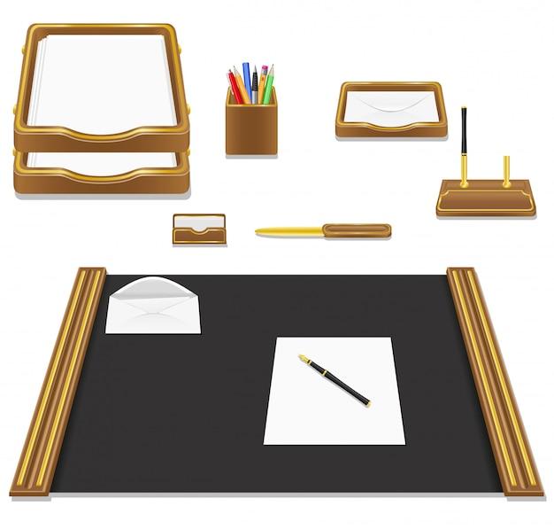 Illustrazione di vettore dell'ufficio della cancelleria Vettore Premium