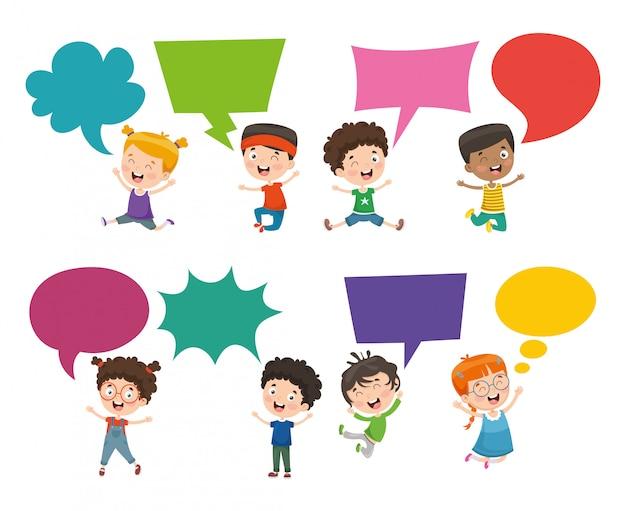 Illustrazione di vettore della bolla di discorso dei bambini Vettore Premium