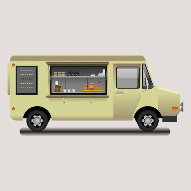 Illustrazione di vettore della caffetteria mobile mobile modificabile Vettore Premium