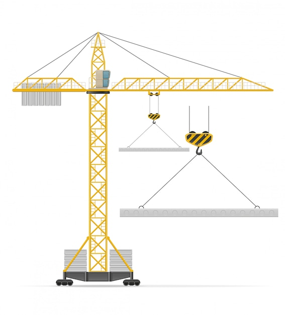 Illustrazione di vettore della gru della costruzione Vettore Premium