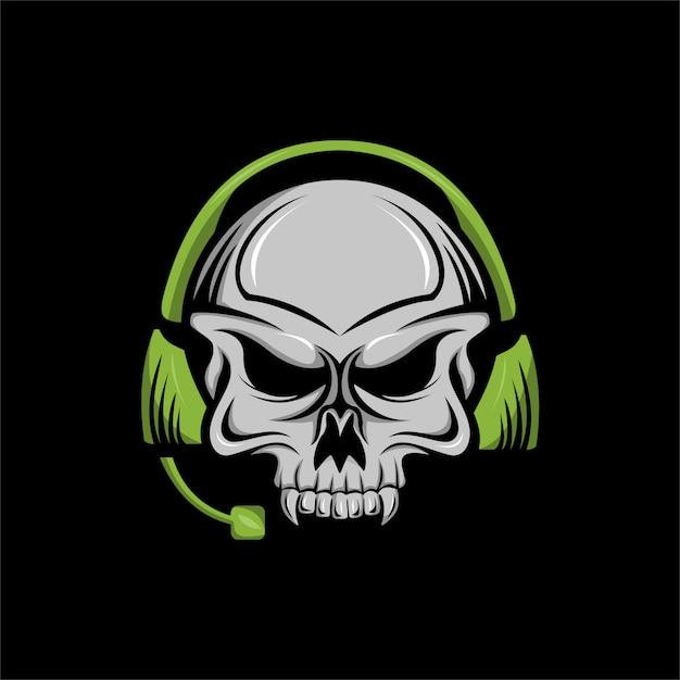 Illustrazione di vettore della mascotte della cuffia del cranio Vettore Premium