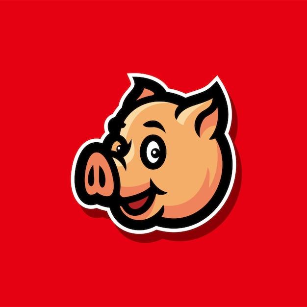 Illustrazione di vettore della mascotte di logo di esports testa di maiale Vettore Premium