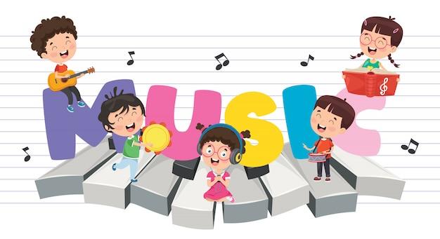 Illustrazione di vettore della priorità bassa di musica dei bambini Vettore Premium