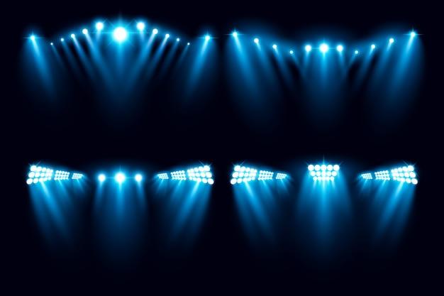 Illustrazione di vettore della raccolta di illuminazione dell'arena dello stadio Vettore Premium