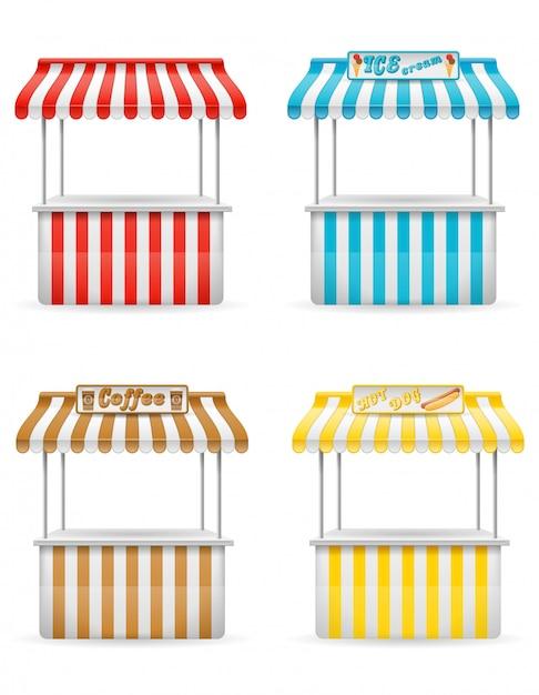 Illustrazione di vettore della stalla dell'alimento della via Vettore Premium
