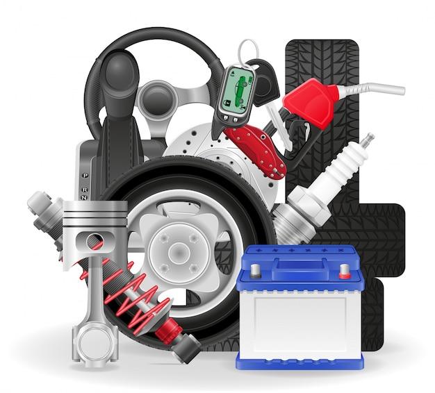 Illustrazione di vettore delle icone di concetto dell'automobile Vettore Premium