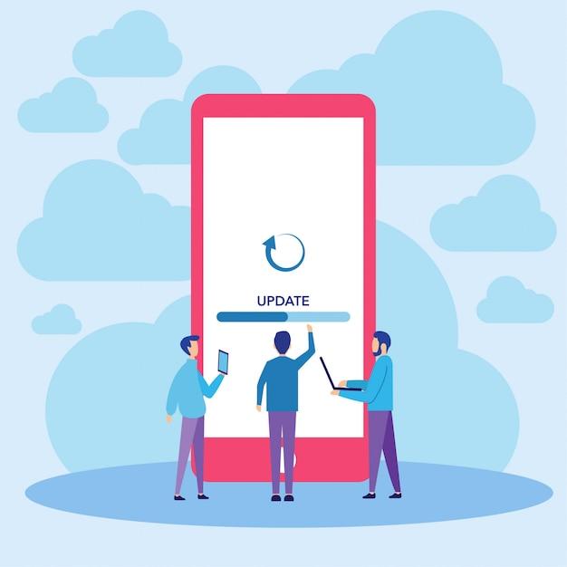 Illustrazione di vettore di aggiornamento del sistema mobile Vettore Premium