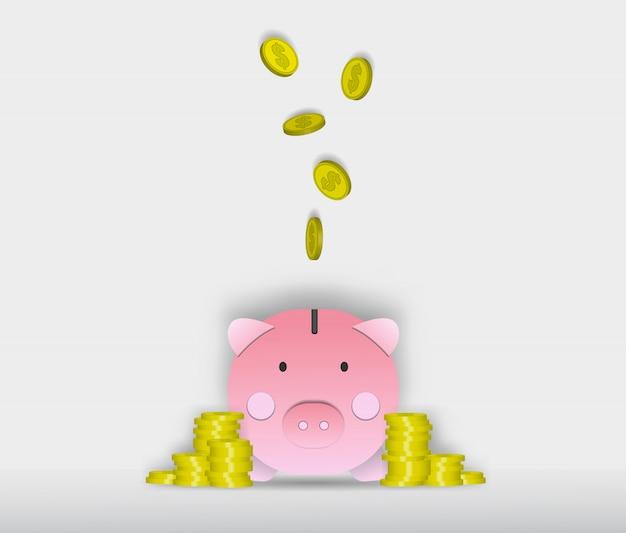 Illustrazione di vettore di arte di carta del salvadanaio di maiale Vettore Premium