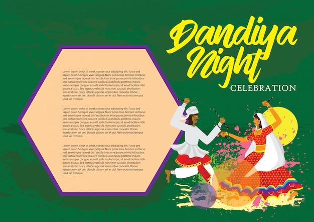 Illustrazione di vettore di celebrazione di notte di dandiya Vettore Premium