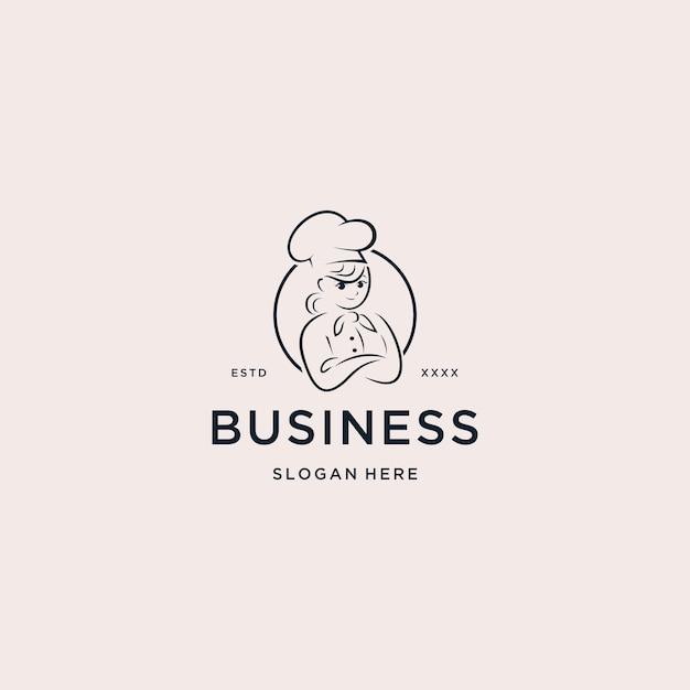 Illustrazione di vettore di chef cooking logo Vettore Premium